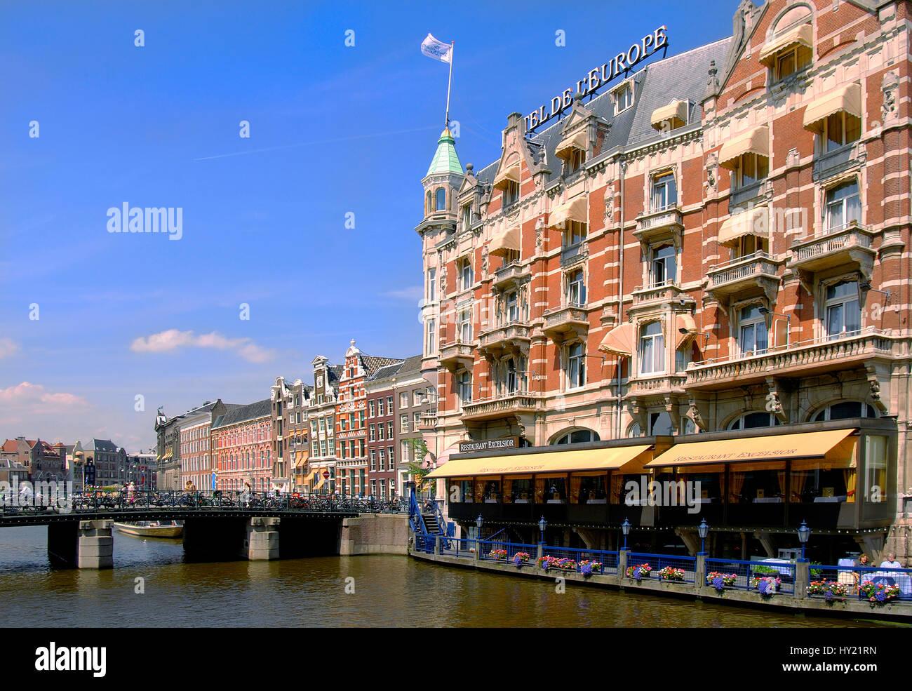 Image de l'Hôtel de l'Europe dans le centre-ville d'Amsterdam, Hollande. Banque D'Images