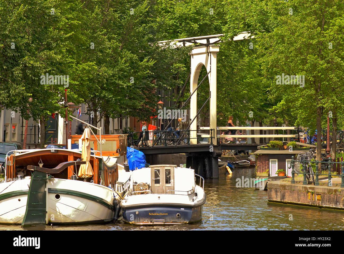 Image de house boat dans un canal d'eau dans le centre-ville d'Amsterdam, Hollande. Banque D'Images