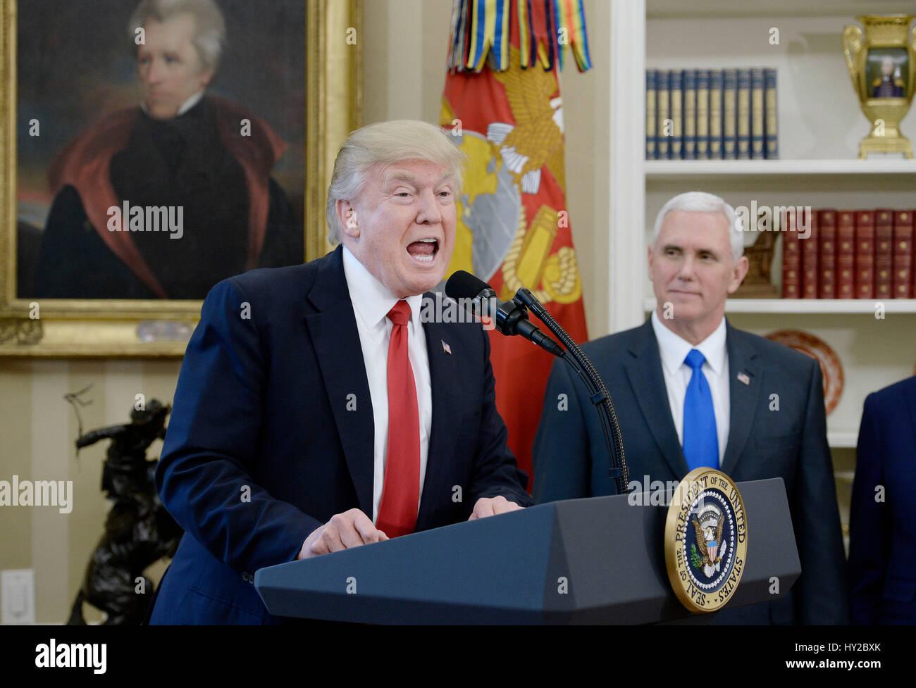 Washington DC, USA. 31 mars, 2017. Le Président des Etats-Unis, Donald Trump parle à propos du commerce Photo Stock