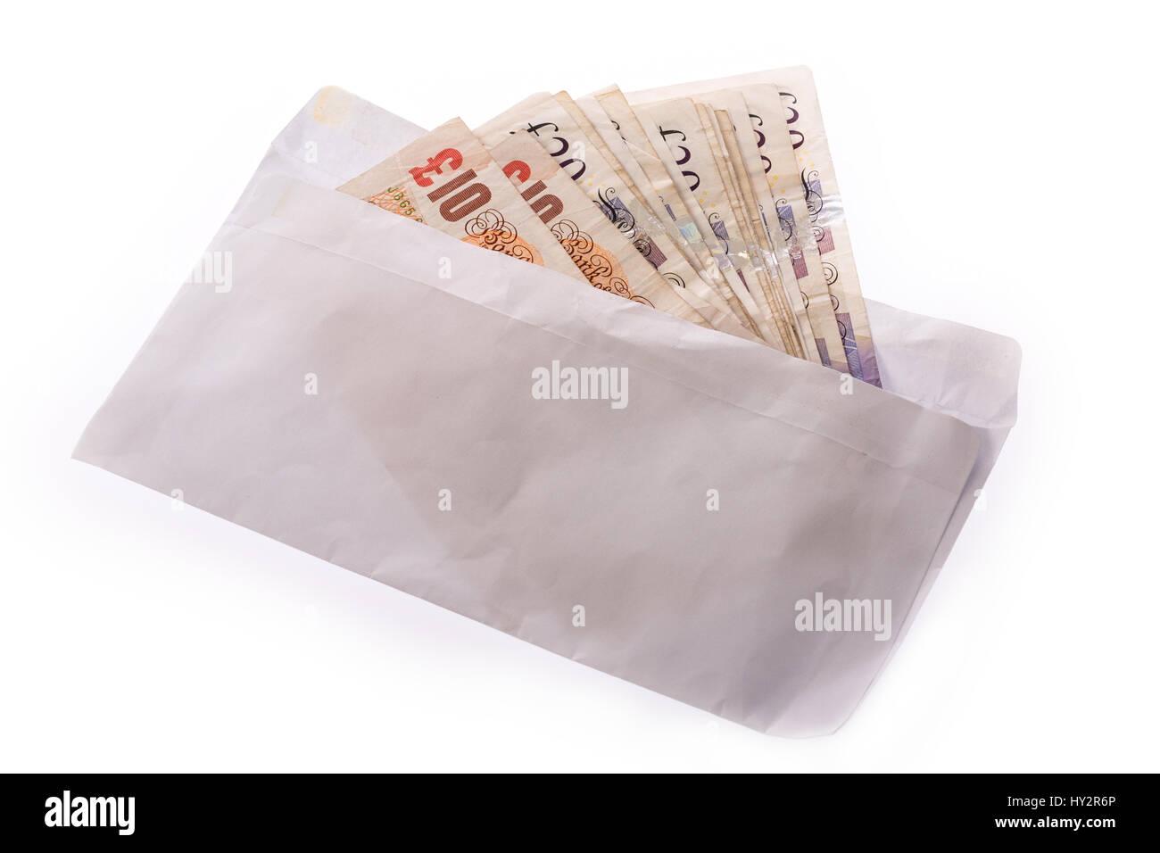 Enveloppe de paiement uk pound note Banque D'Images
