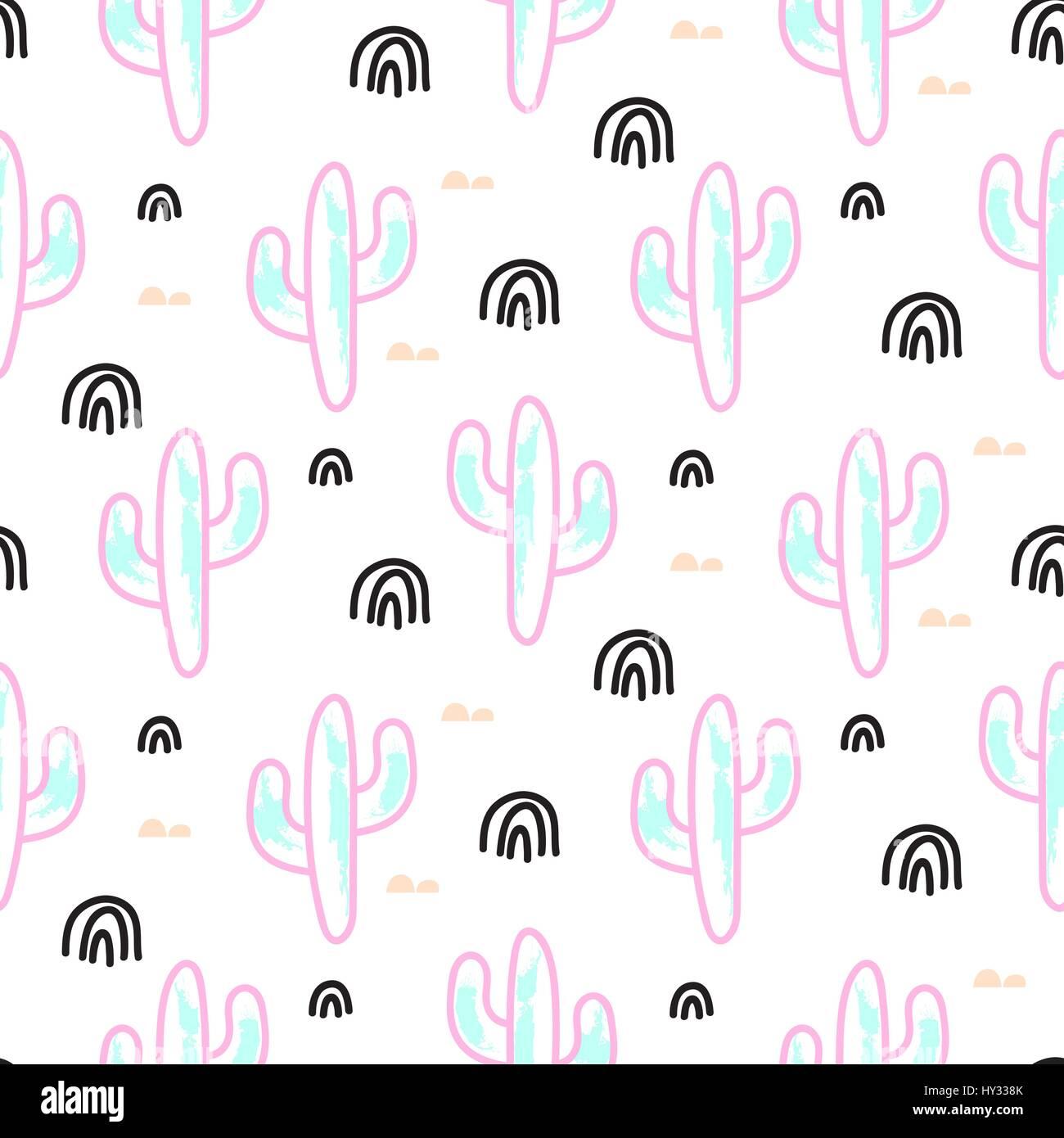 Cactus Vecteur Néon Transparente Dessin Animé Abstrait