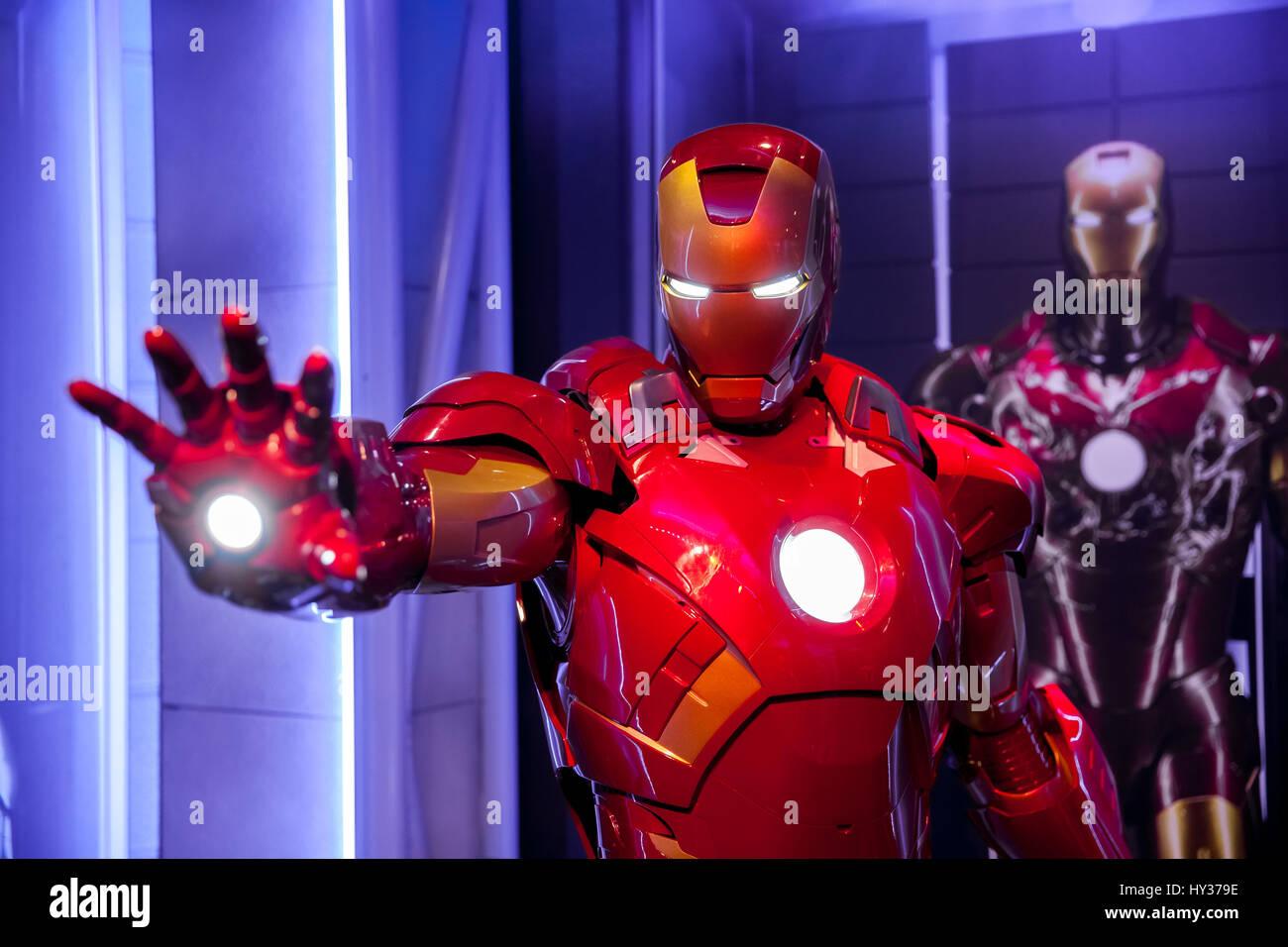Amsterdam, Pays-Bas - Mars, 2017: Cire figure de Tony Stark l'Iron Man de Marvel Comics en musée Photo Stock