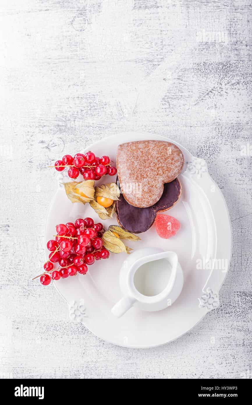 Gâteau au miel pour la Saint-Valentin Photo Stock