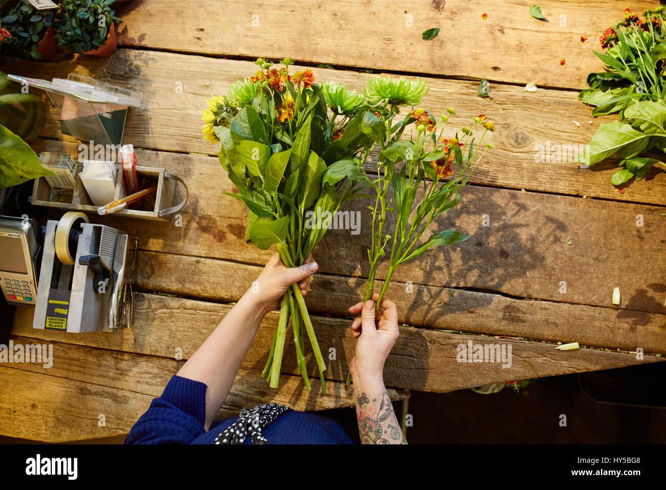 La Suède, un fleuriste travaillant dans le magasin de fleurs Photo Stock