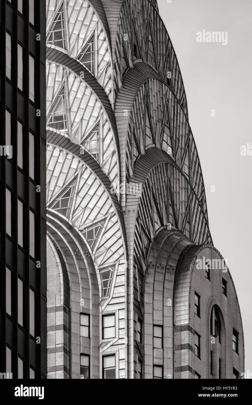 Deco Noir Et Blanc haut de l'immeuble chrysler (style art déco) en noir et