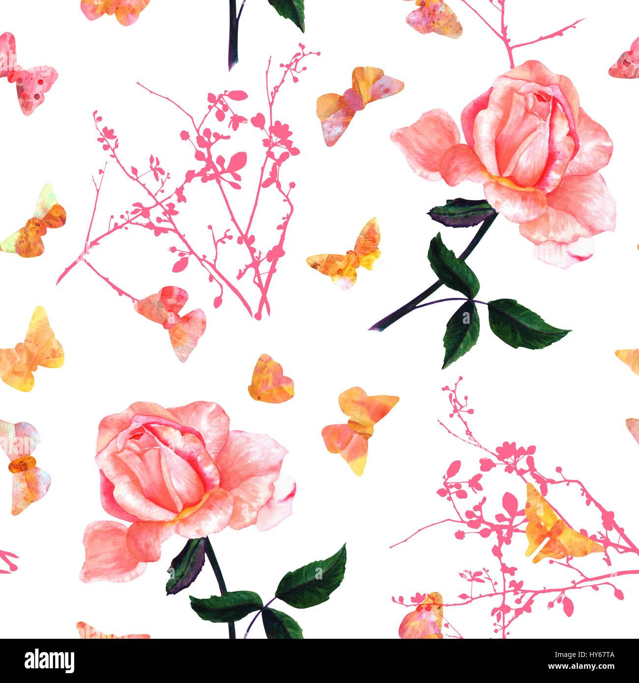 Un Modele Sans Couture Avec Une Aquarelle Dessin D Une Rose Rose En Fleurs Et Papillons Aux Couleurs Peintes A La Main Sur Fond Blanc Dans Le Style De Vintage B Photo Stock