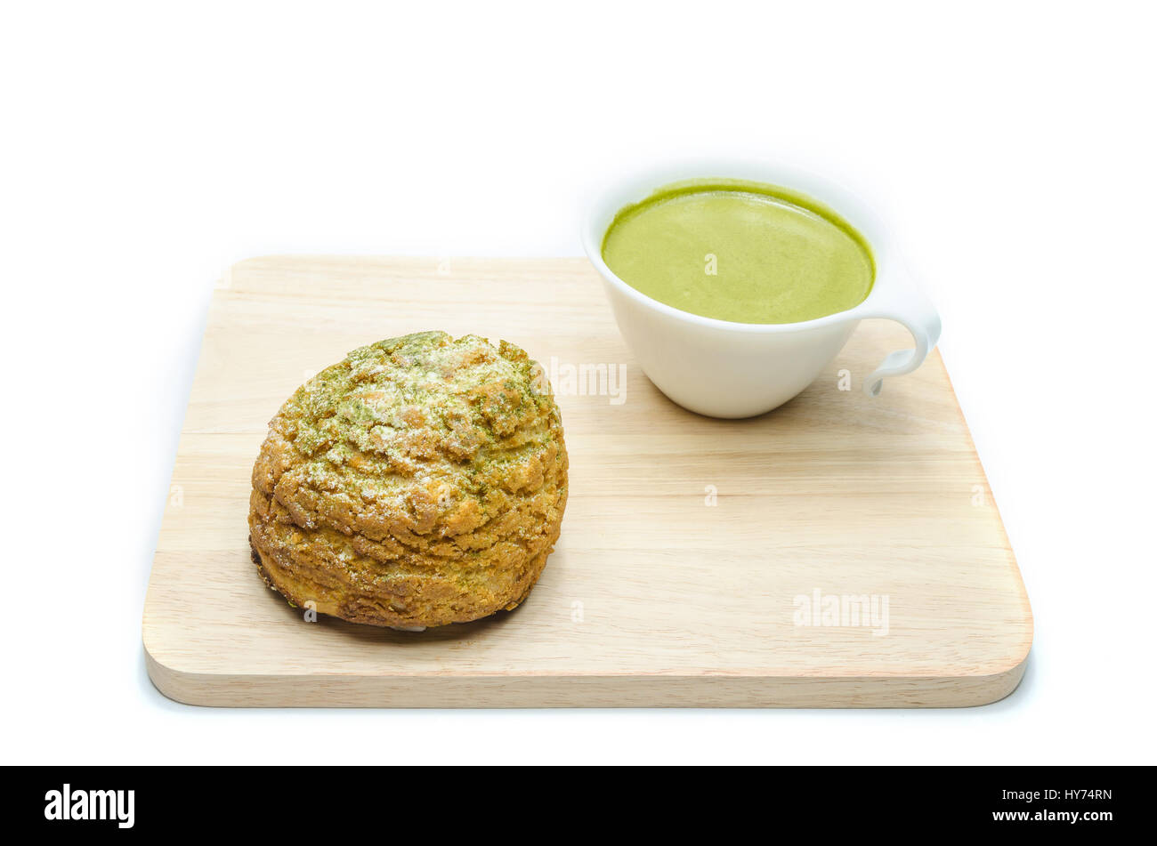 Thé vert et crème Chou isolated on white Photo Stock