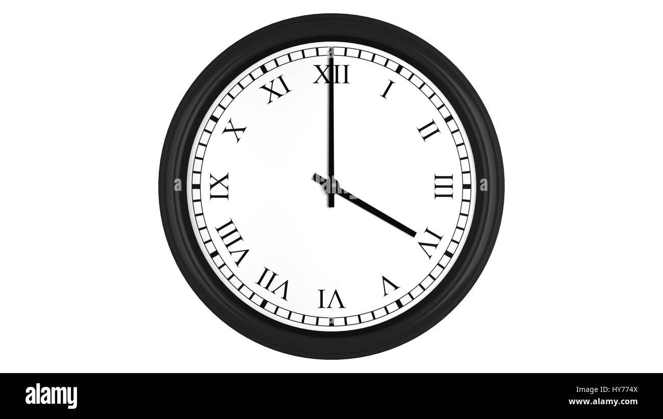 Chiffre Romain 4 rendu 3d réaliste d'une horloge murale avec chiffres romains fixé à