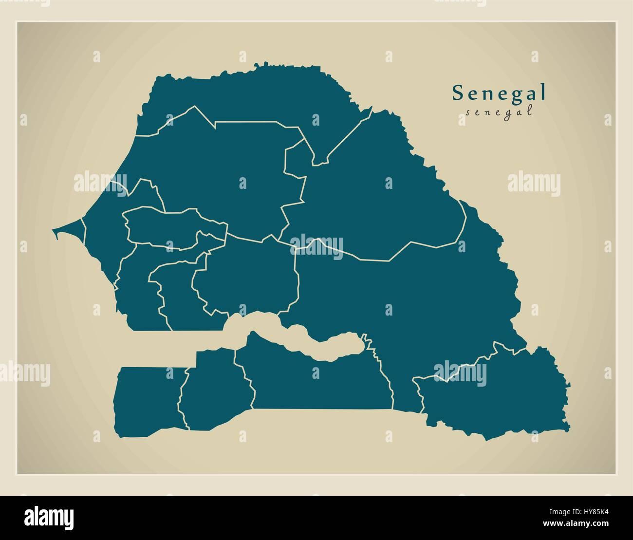 Carte Moderne Senegal Avec Les Regions Sn Image Vectorielle Stock Alamy