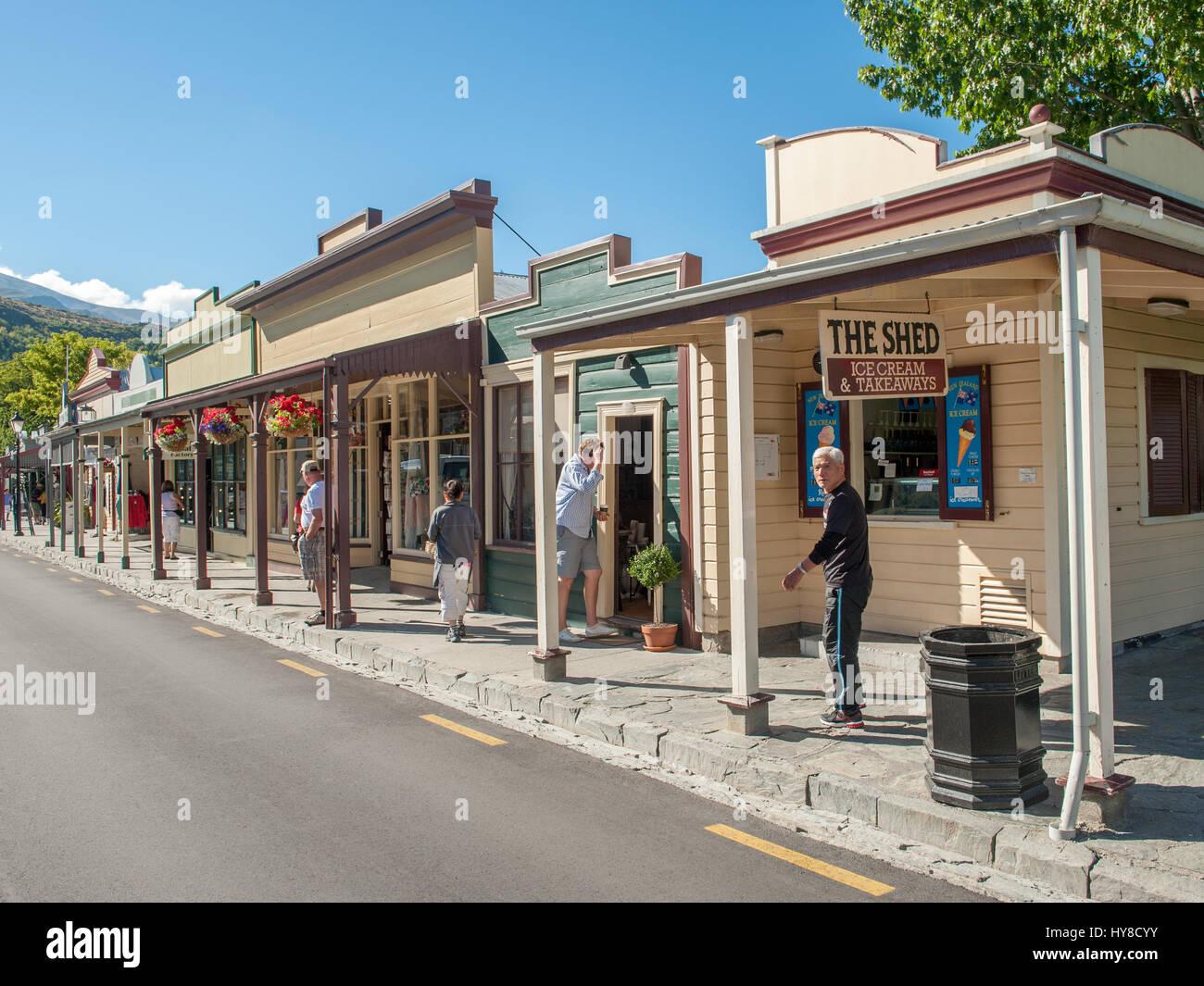Buckingham Street à Arrowtown.. Sofia est une ville minière d'or historique près de Queenstown en Central Otago, Nouvelle-Zélande. Banque D'Images