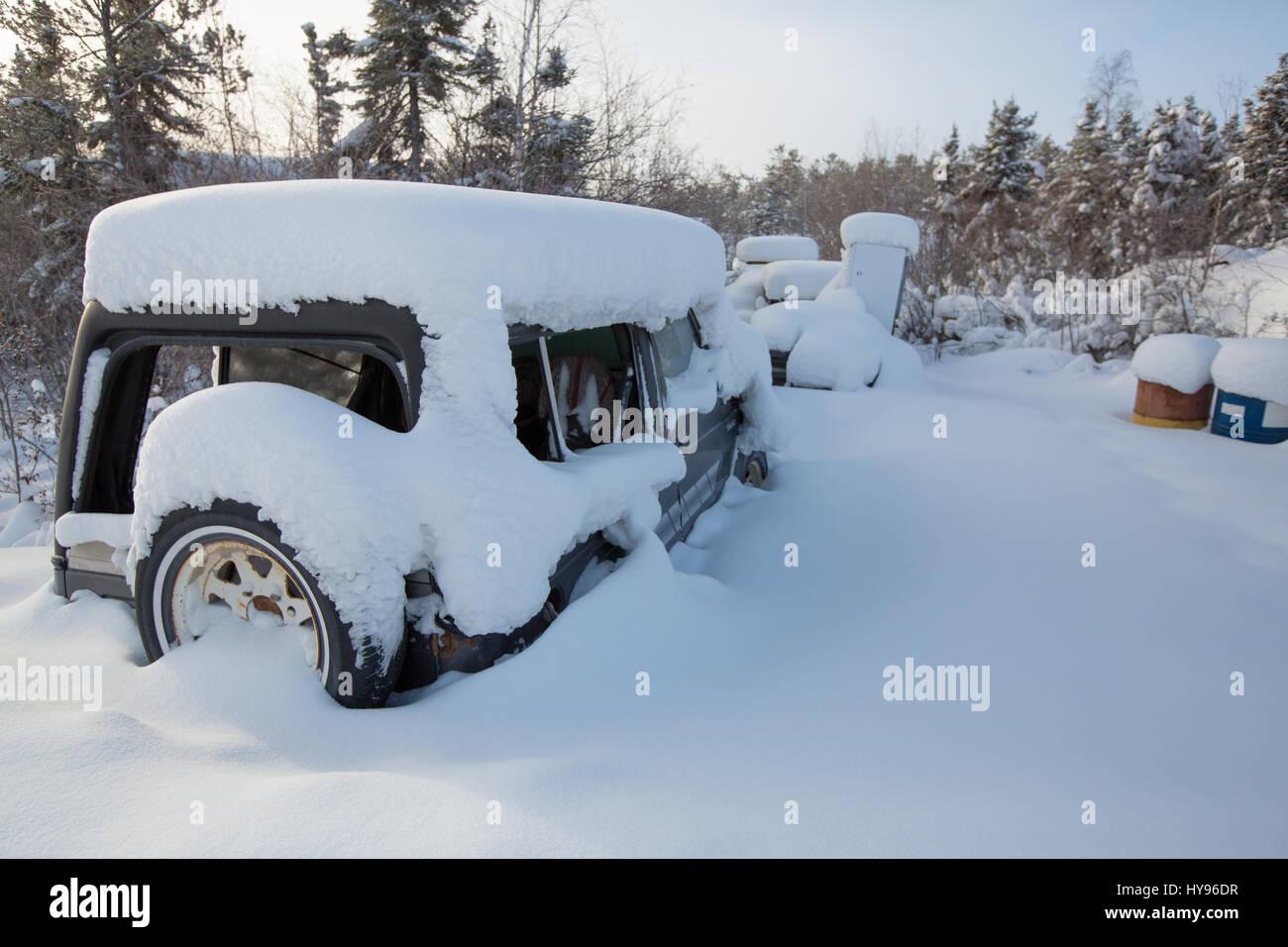Bloqués par la neige Banque D'Images