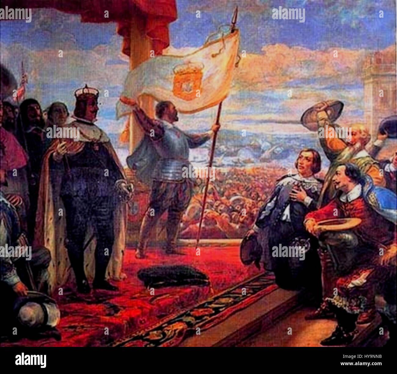 Acclamation du roi Jean IV de Portugal Photo Stock