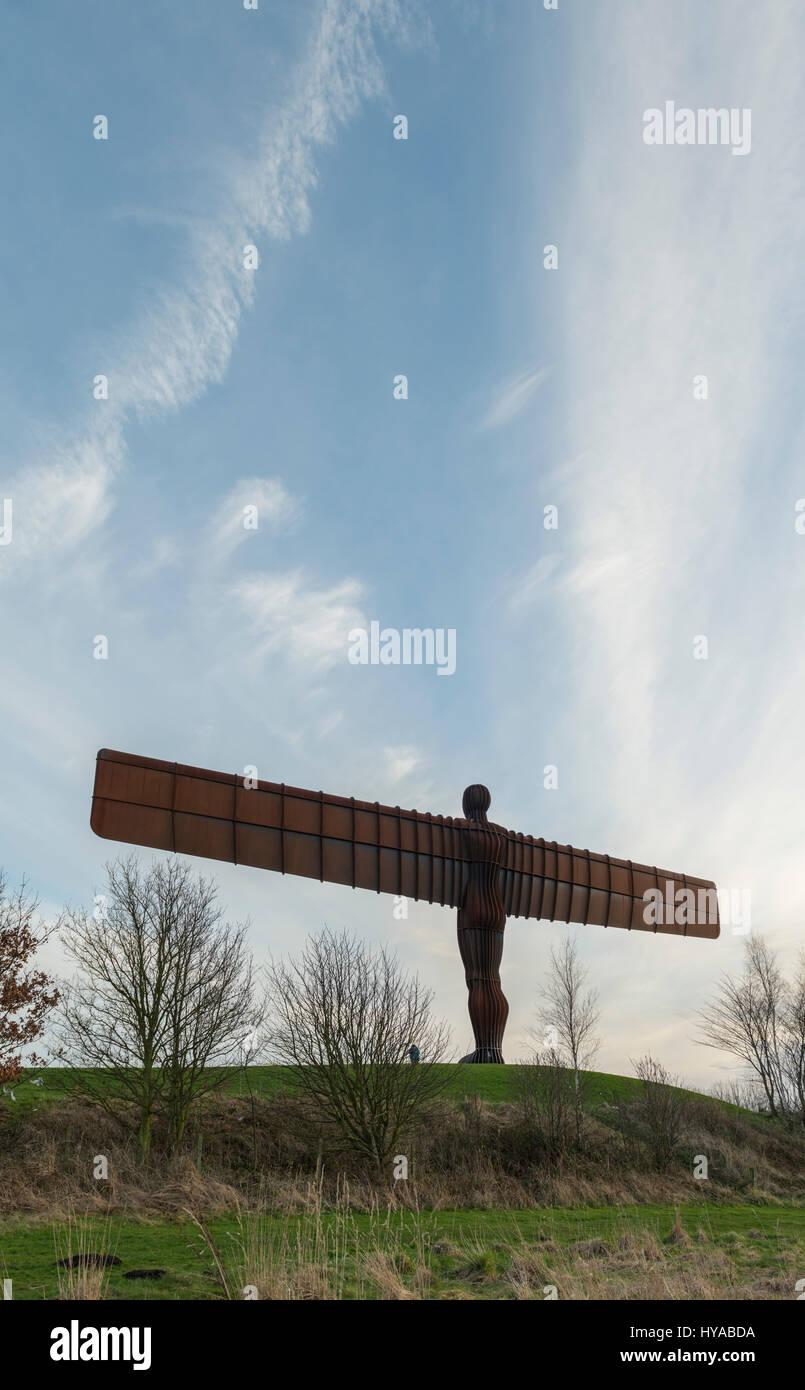 Ange de la sculpture du nord au crépuscule, Gateshead, Tyne et Wear, Angleterre Photo Stock