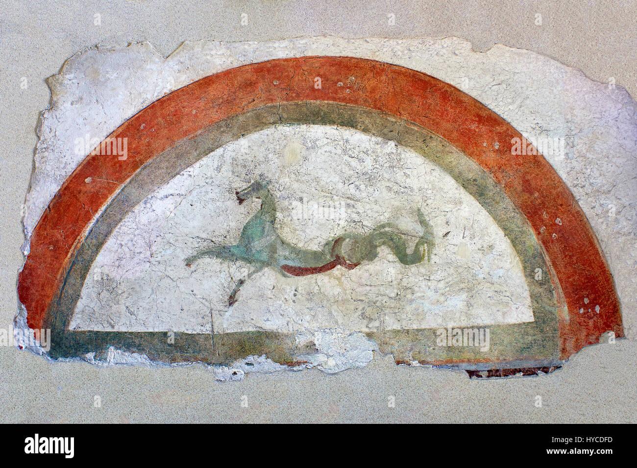 Fresque romaine décoration murale du Villas de Rome représentant Pégase. Museo Nazionale Romano ( Photo Stock