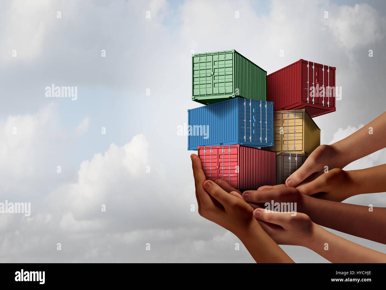 Groupe Cargo voyage concept et symbole de l'accord de libre-échange international comme un groupe d'origines Photo Stock