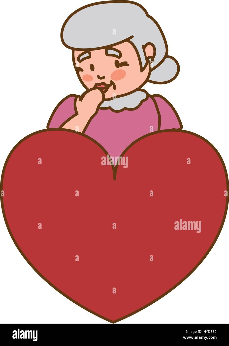 Grand Mère L Amour Coeur Aîné Icône Vecteur Illustration