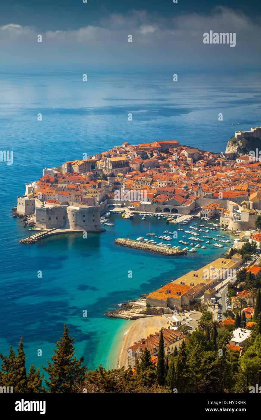 Dubrovnik, Croatie. Belle romantique vieille ville de Dubrovnik pendant les jours ensoleillés, la Croatie, Photo Stock