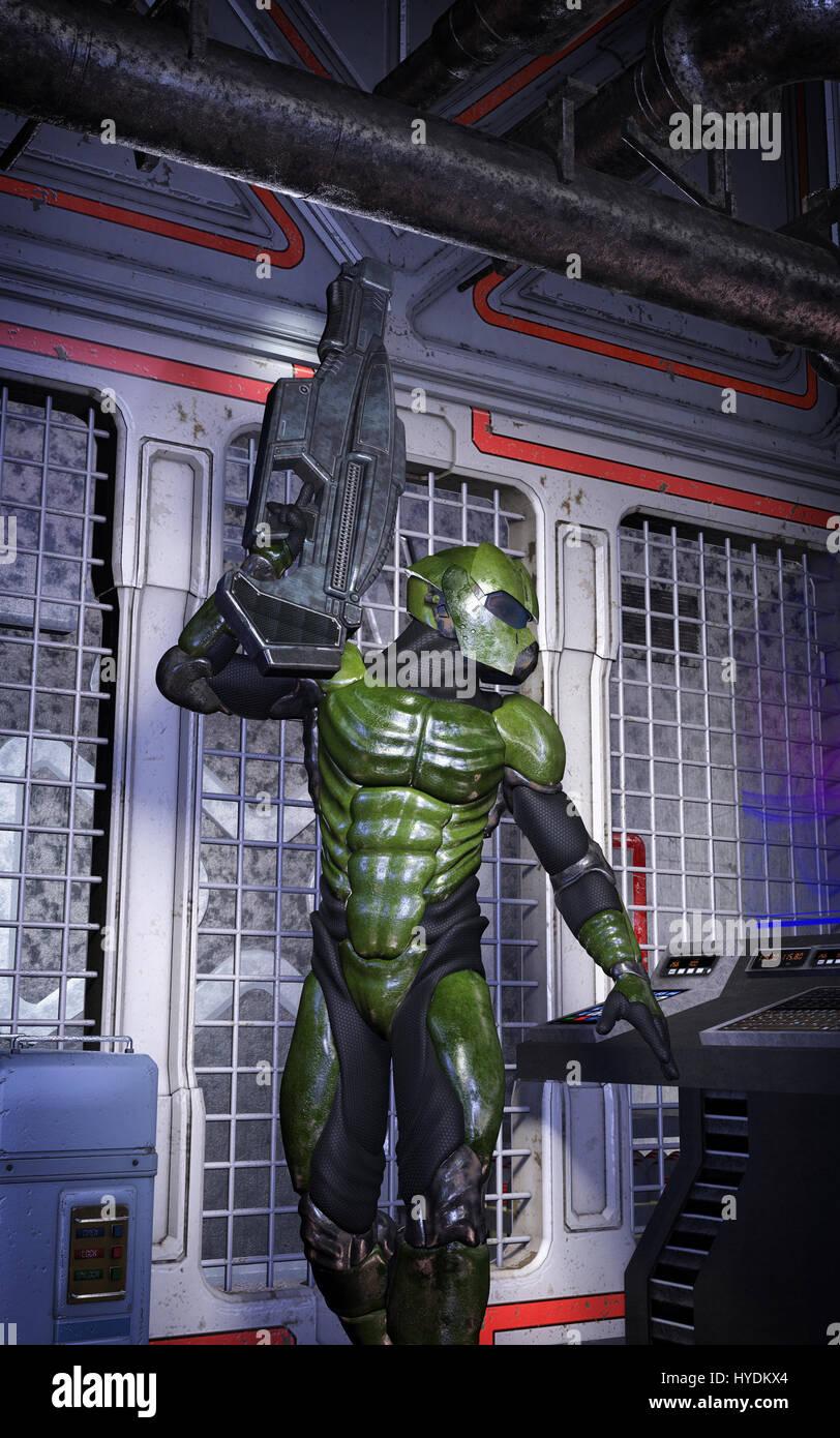 Armure Futuriste soldat en armure futuriste de rendu 3d illustration de la science