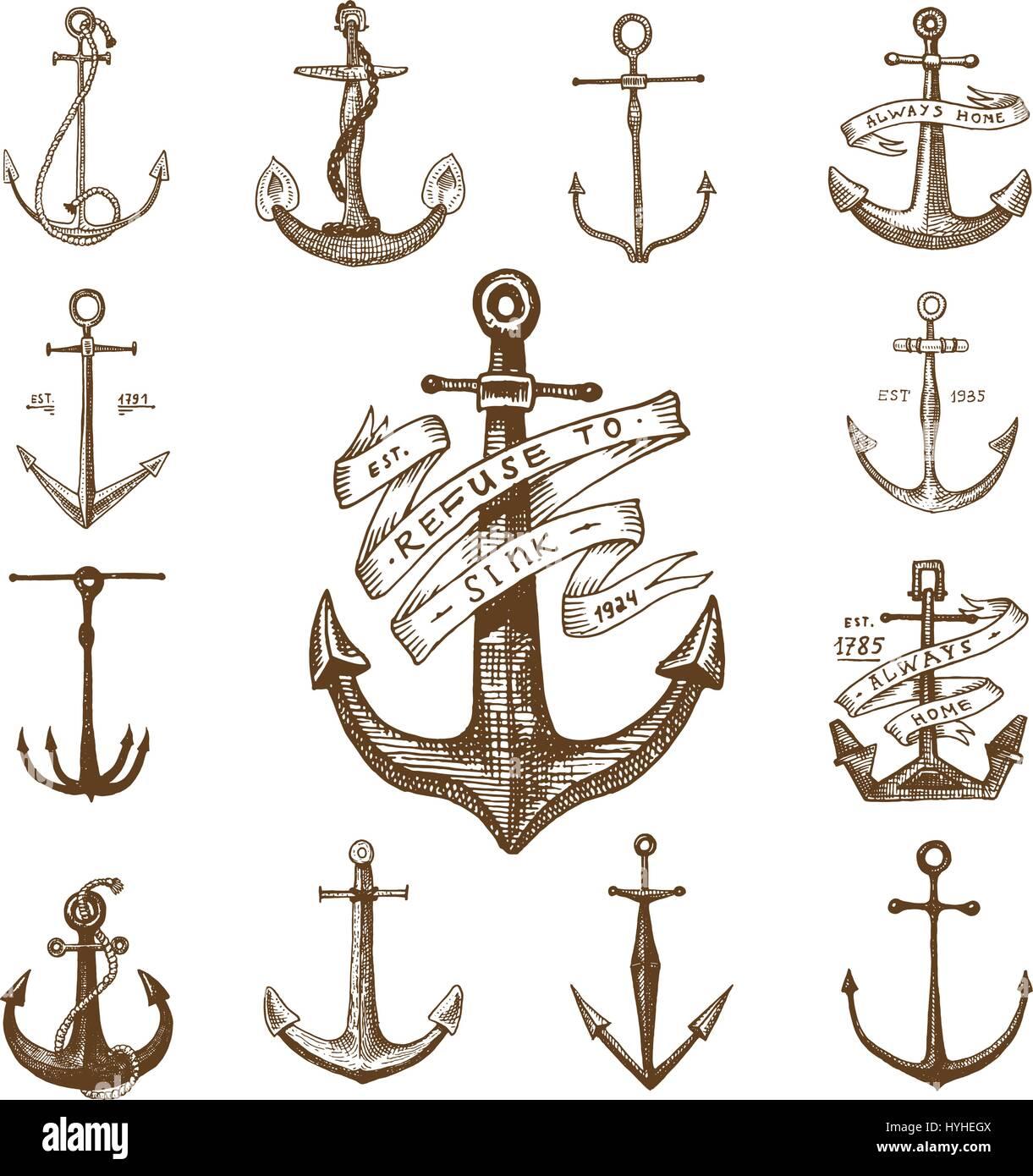 Ancre Marine Dessin l'ancre dans le vieux vintage gravé ou dessiné à la main, style