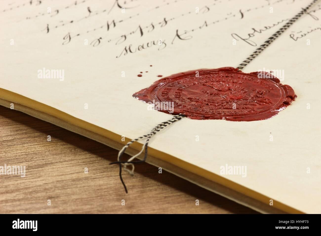 Acte Notarie Ancien Cachet De Cire Sur L Ancien Document Banque D