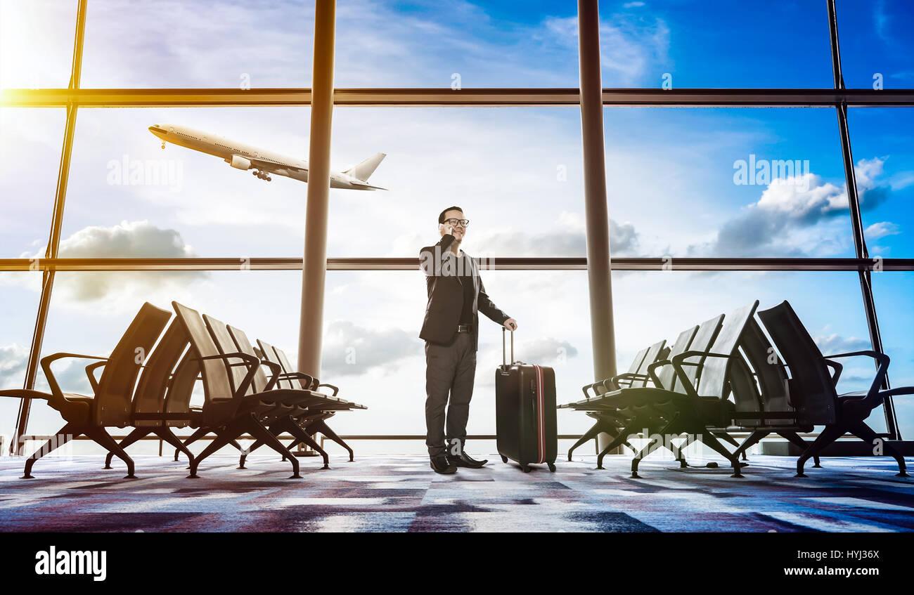 En attente dans l'aéroport Photo Stock