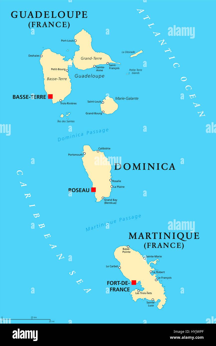 La Guadeloupe, la Dominique et la Martinique carte politique avec les capitales Basse-Terre, Roseau et Fort-de-France. Îles de la mer des Caraïbes. Banque D'Images