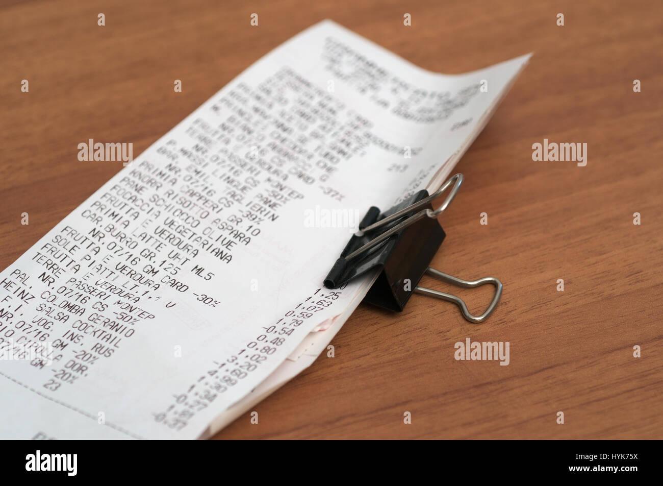 Tickets de caisse de supermarché Photo Stock