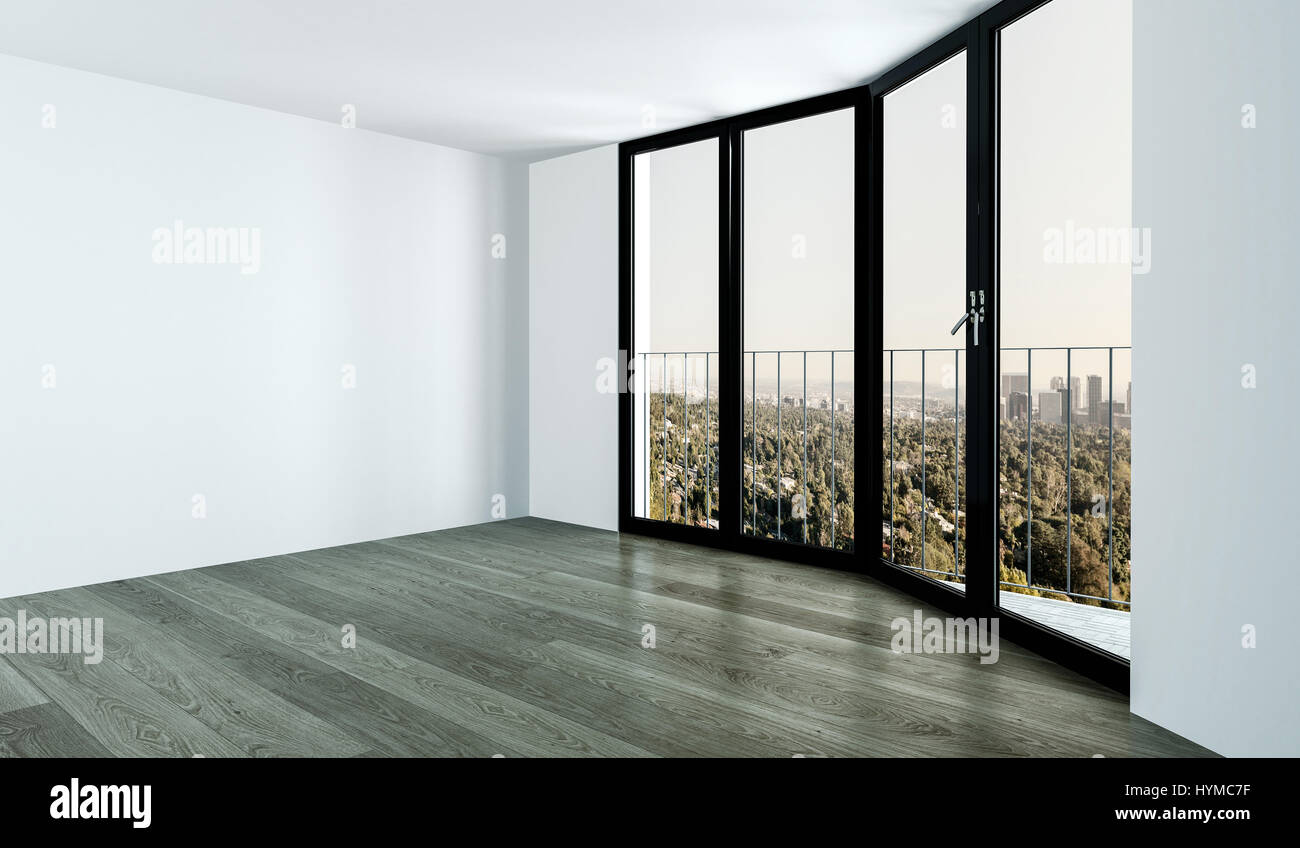 coin chambre vide avec une haute fenêtre noire, murs blancs et