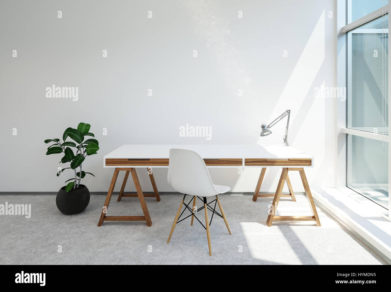Tréteau moderne bureau ou table de bureau avec lampe anglepoise au