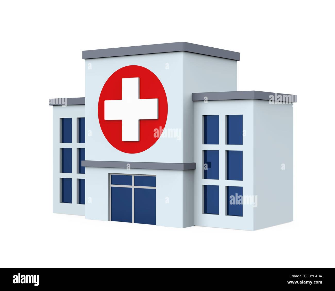 Bâtiment isolé de l'hôpital Photo Stock