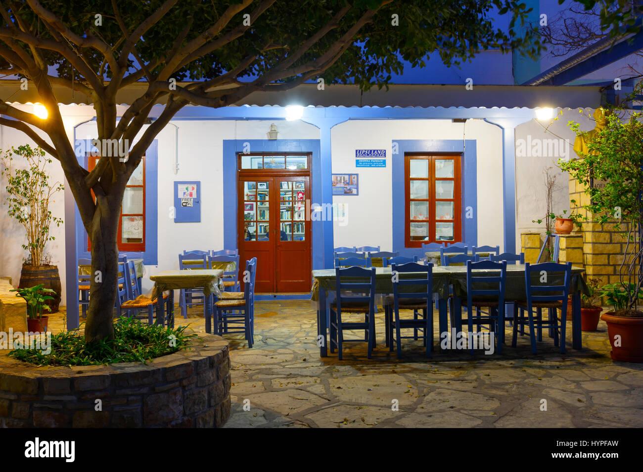 Village principal de l'île de Lipsi à Dodécanèse, Grèce. Photo Stock