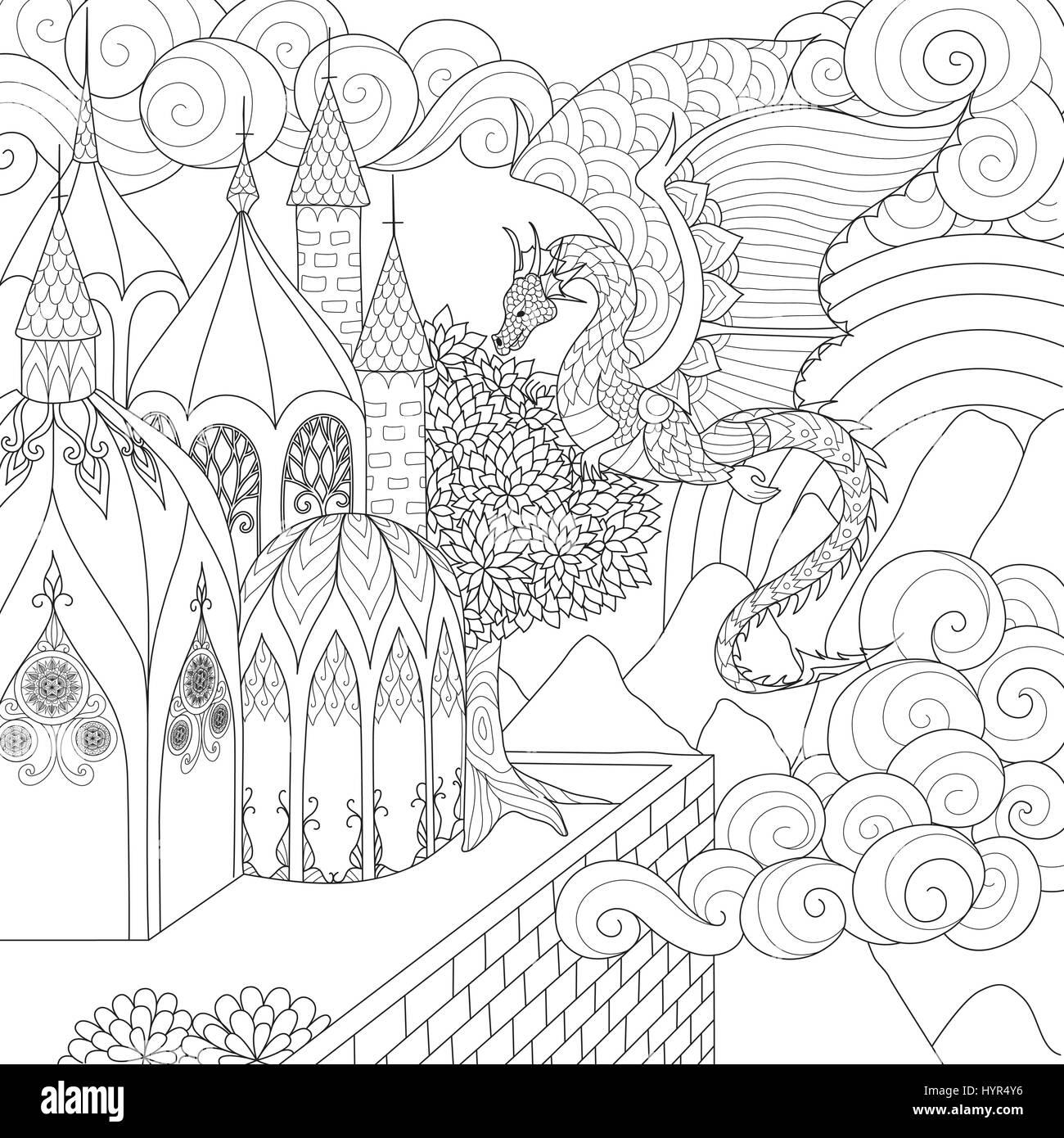 Coloriage Adulte Eglise.Dragon Volant Au Dessus De Belle Cathedrale Pour Livre De Coloriage