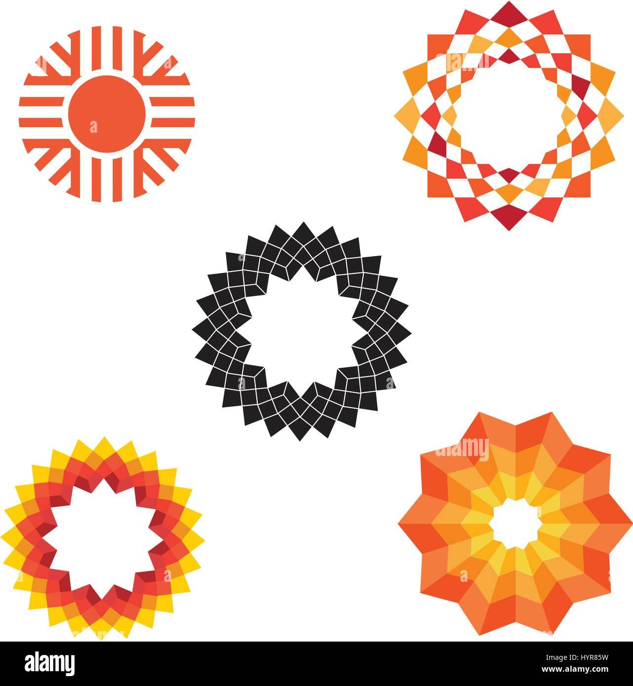 Résumé vecteur géométrique moderne divers icônes sun Illustration de Vecteur