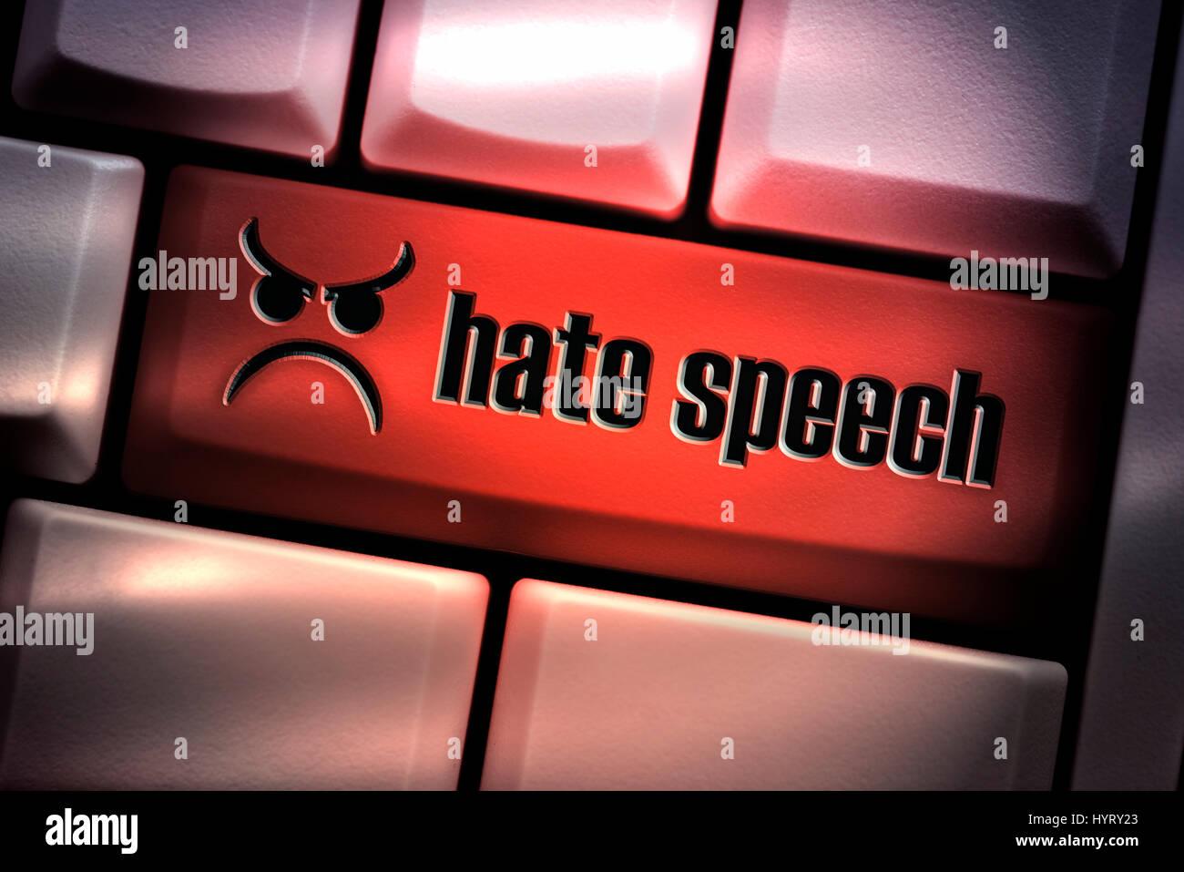 Le discours de haine sur la touche du clavier de l'ordinateur Photo Stock