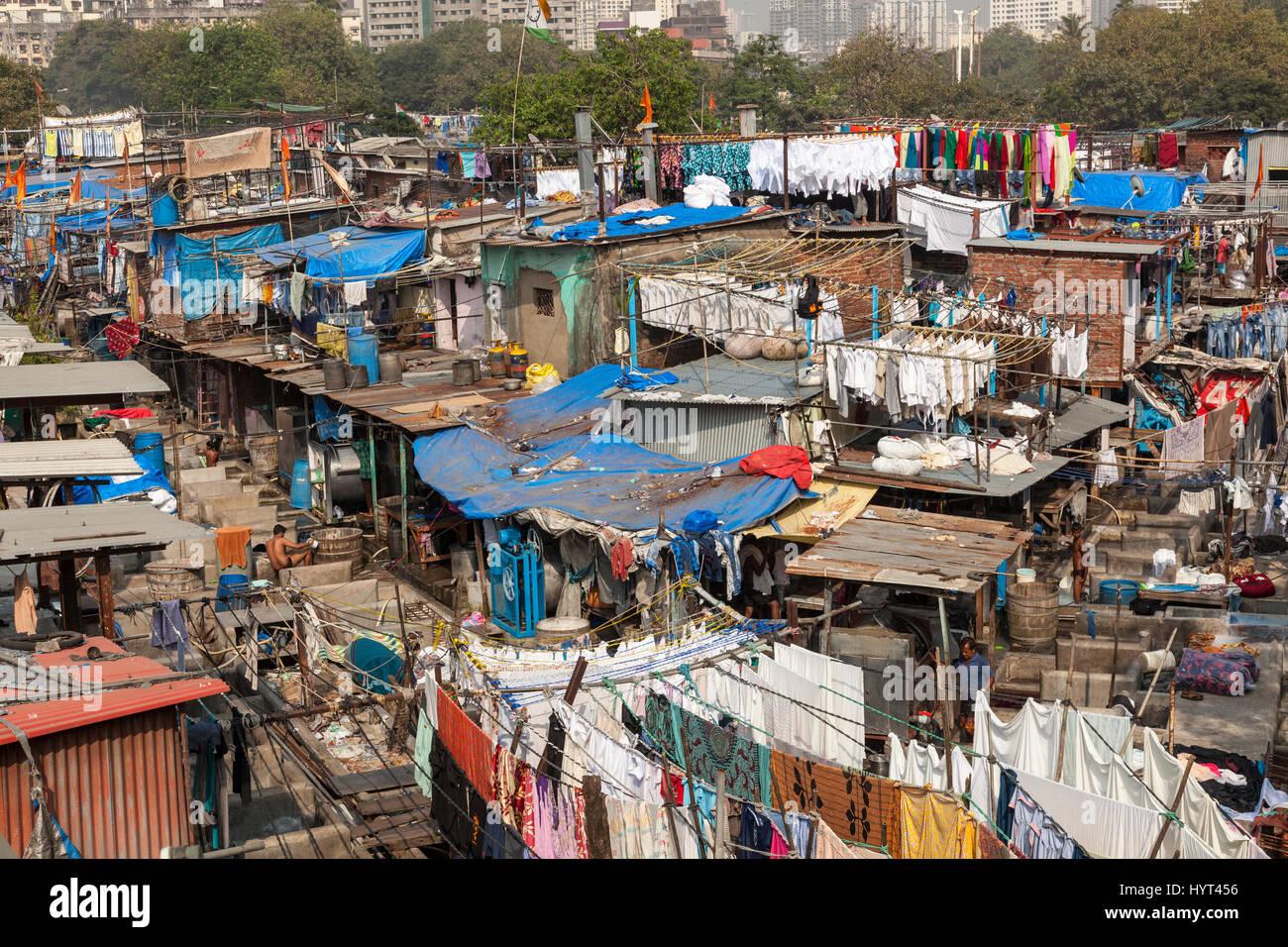 Mahalaxmi Dhobi Ghat, open air laverie, Mumbai, Inde Photo Stock