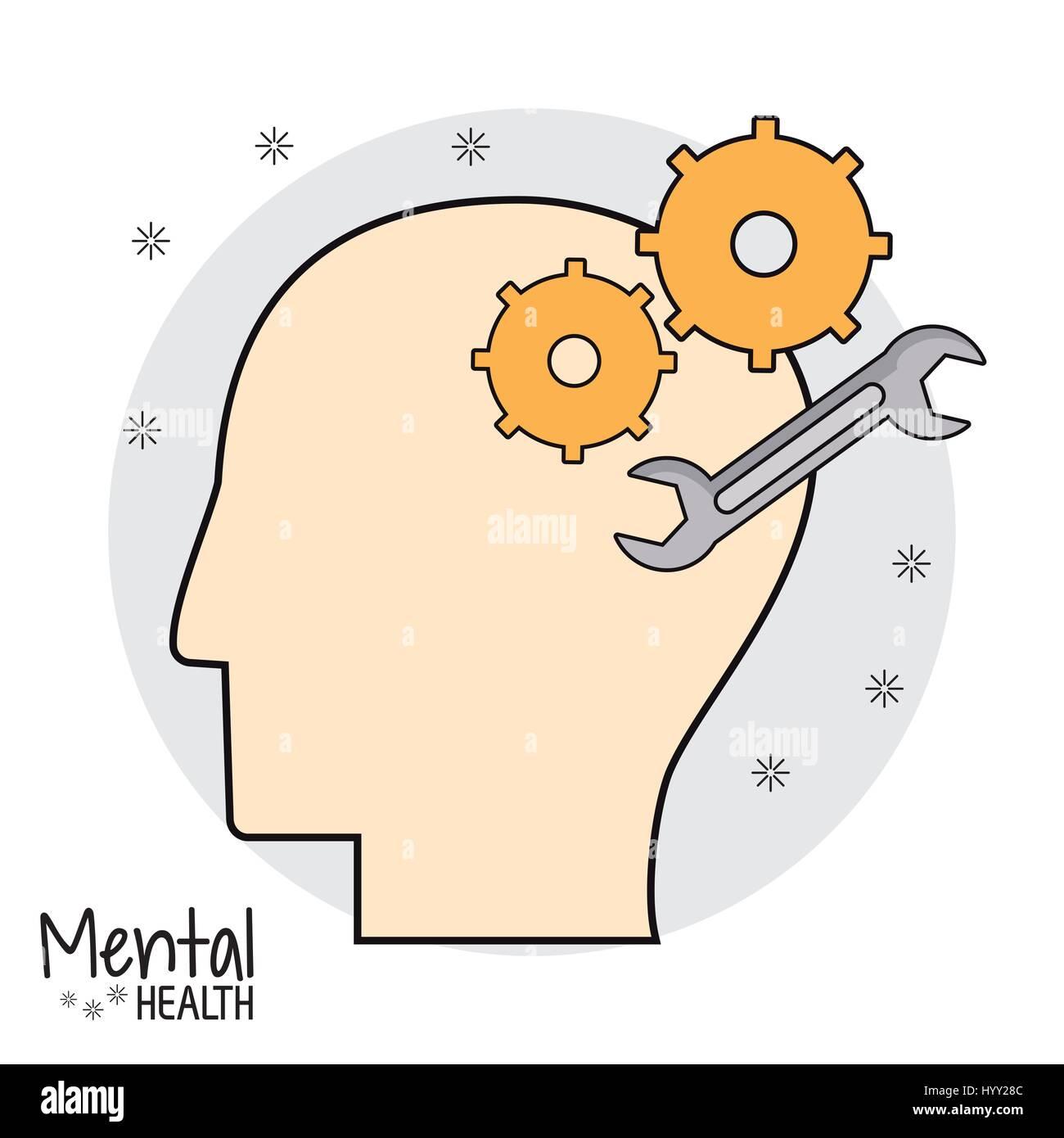 Tête de profil de la santé mentale Photo Stock