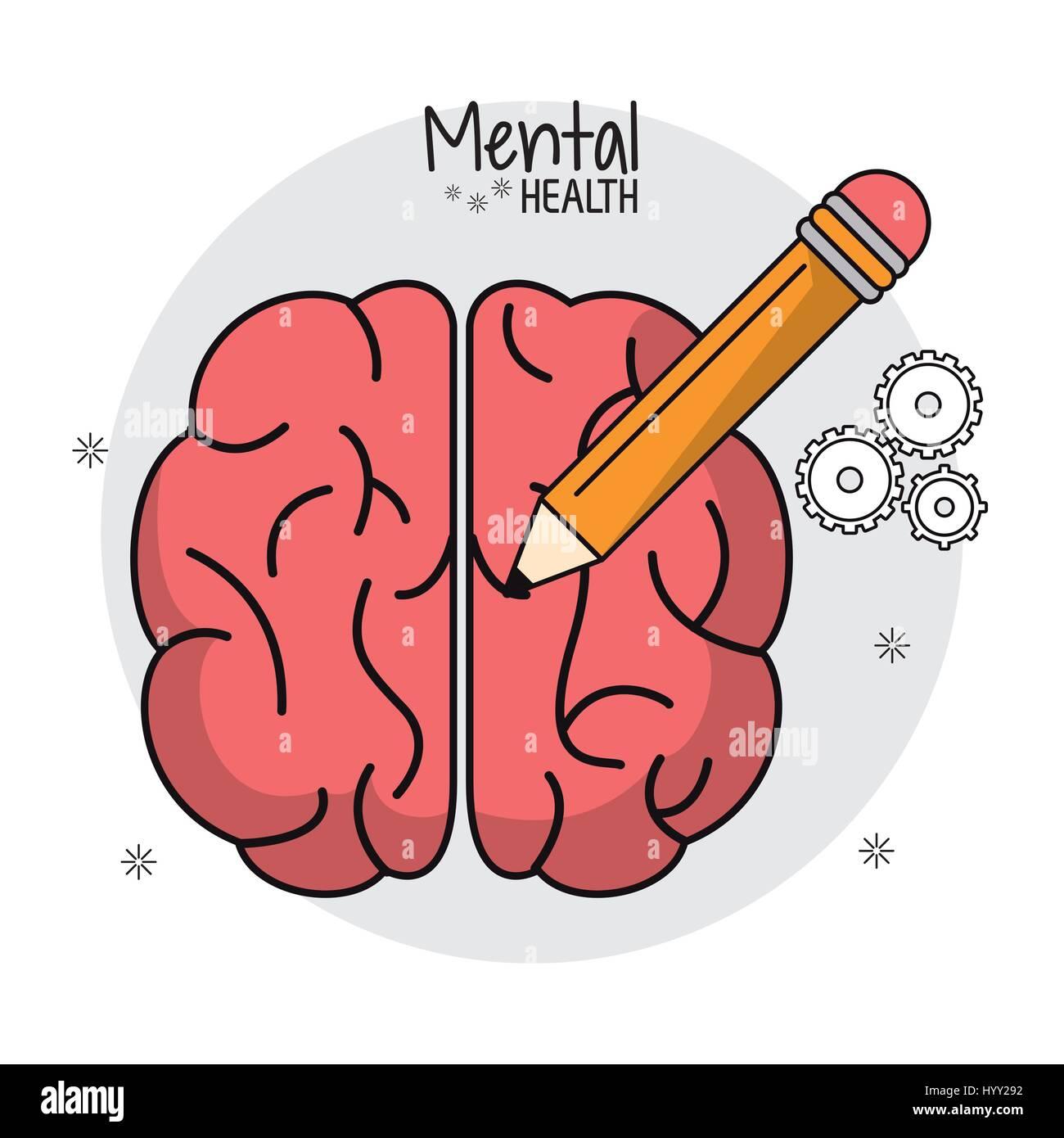 La santé mentale de l'idée de cerveau crayon Photo Stock