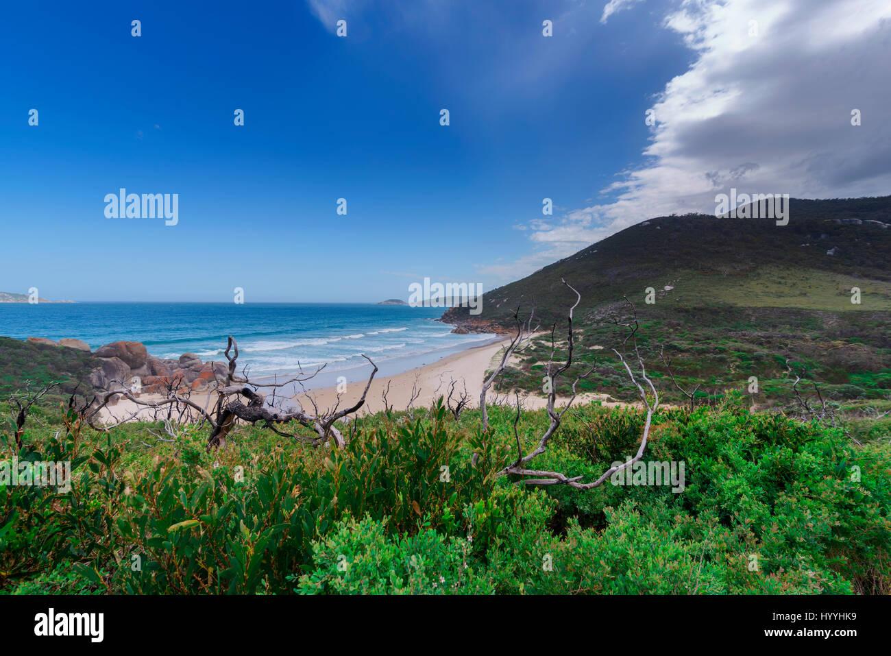 Une vue magnifique sur le bleu de l'océan au loin avec les vagues blanches dans le matériel roulant vers une plage Banque D'Images