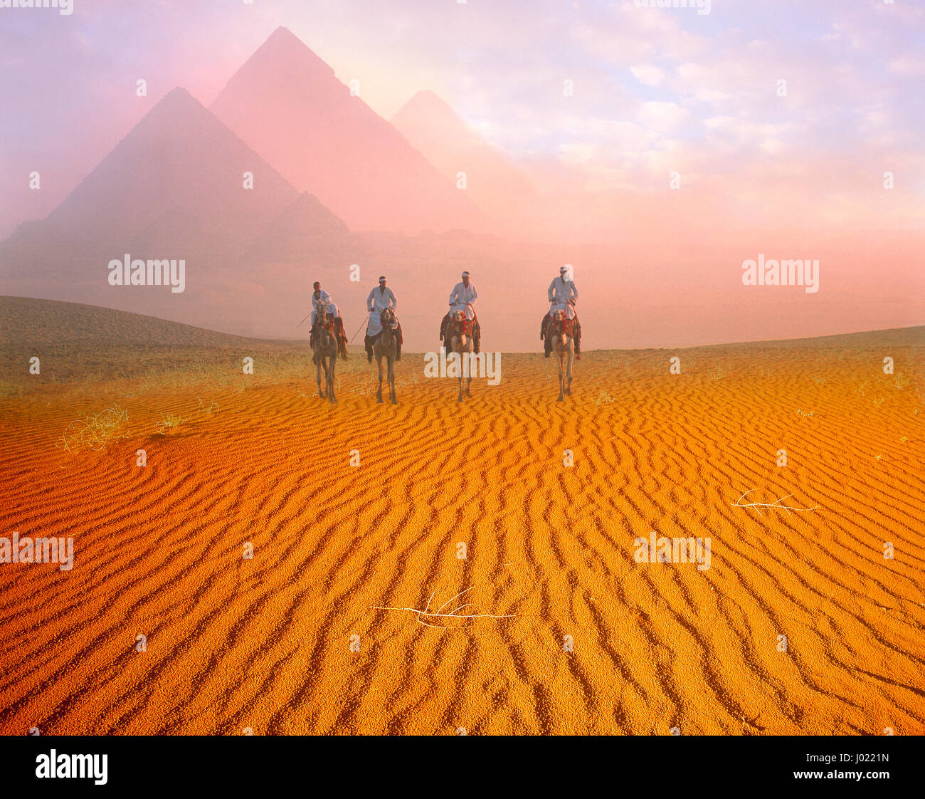 Pyramides et camelriders à l'aube, Giza, Le Caire, Egypte Photo Stock