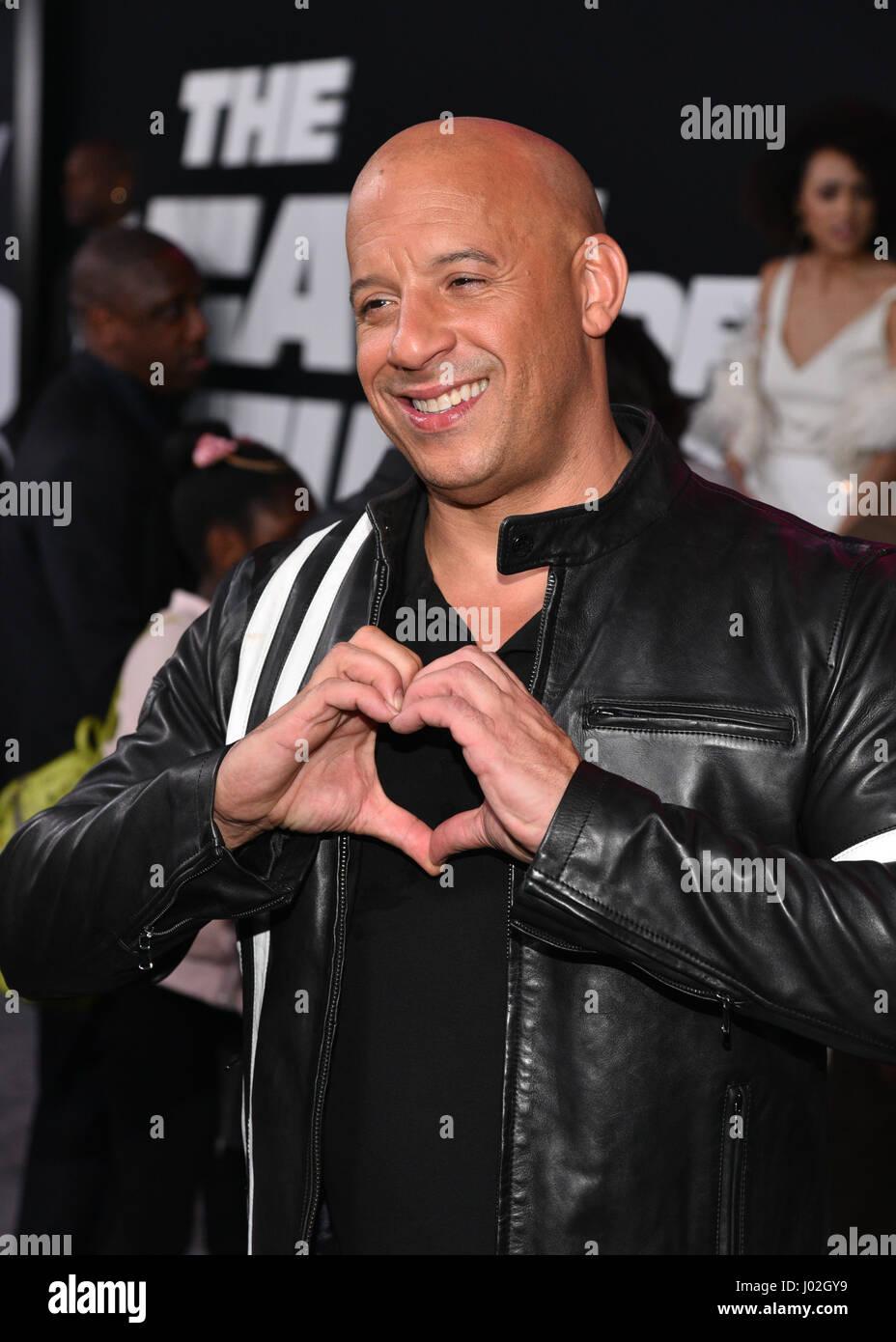 New York, USA. 8 avril, 2017. Vin Diesel assiste à 'Le sort de la Furious' New York Premiere au Radio Photo Stock