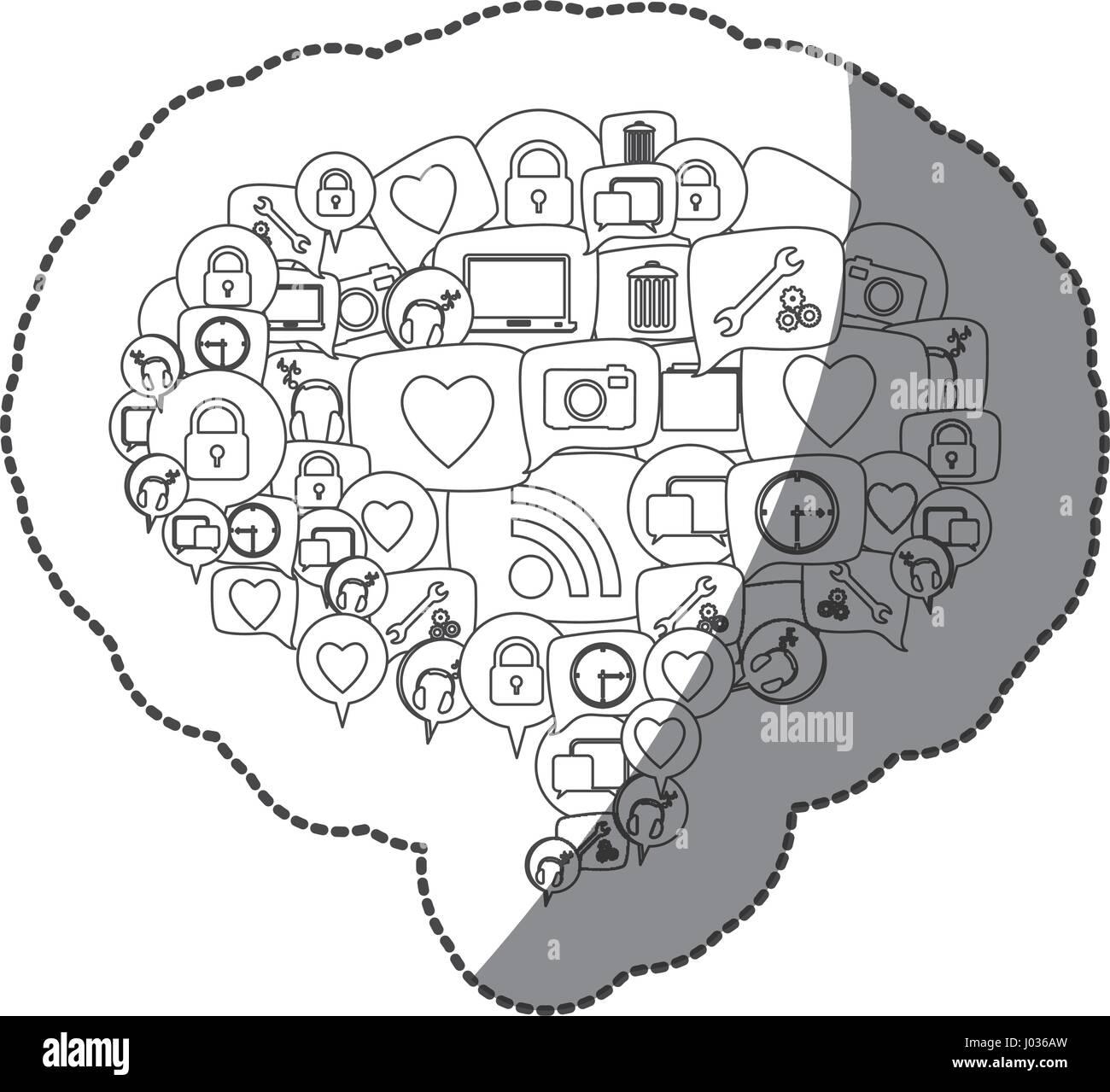 Silhouette autocollant forme de dialogue Modèle de légende empilés icônes sociales Illustration de Vecteur