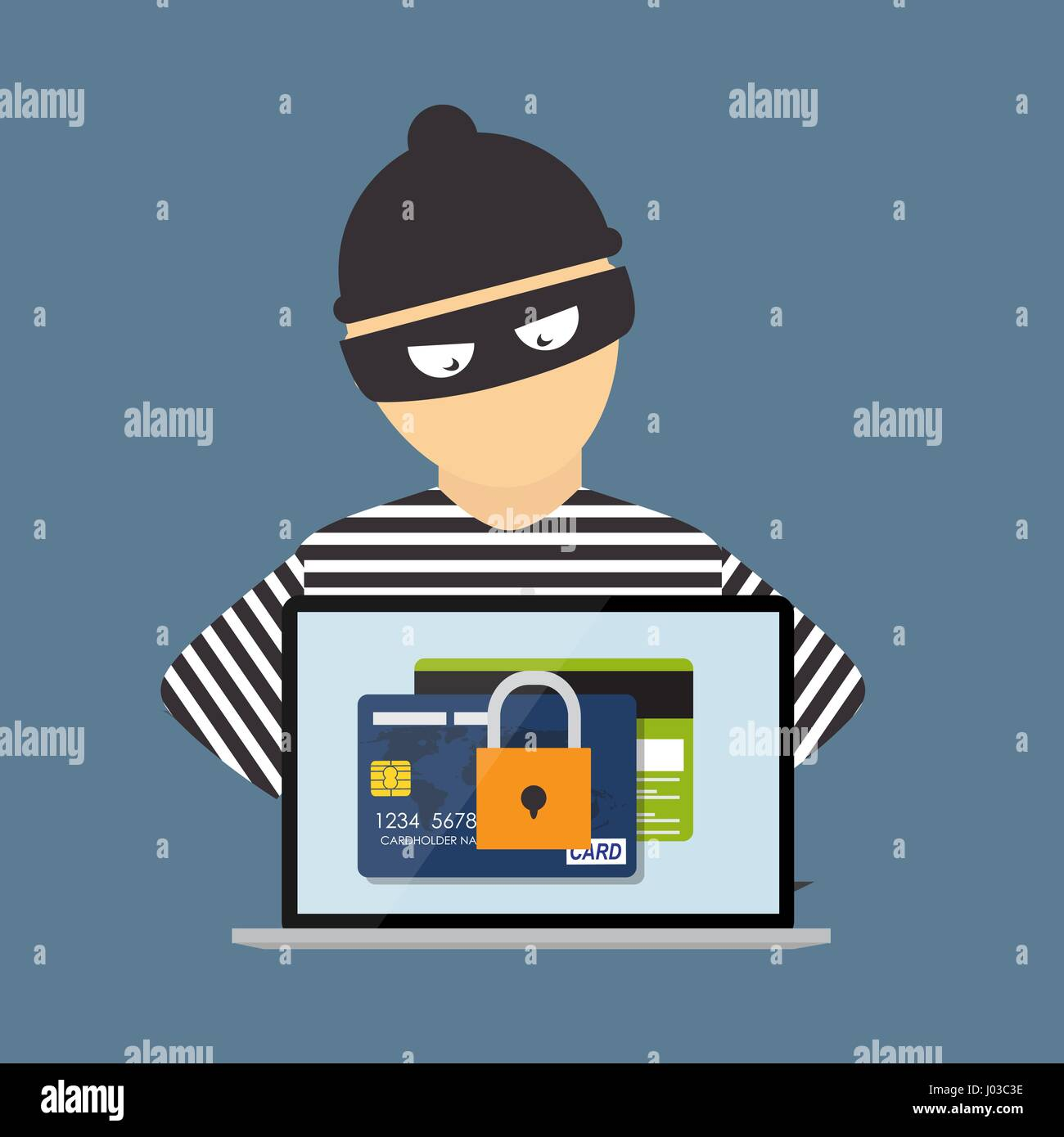 Hacker criminel, concept de fraude, la cyber-criminalité. Vector Illustrat Photo Stock