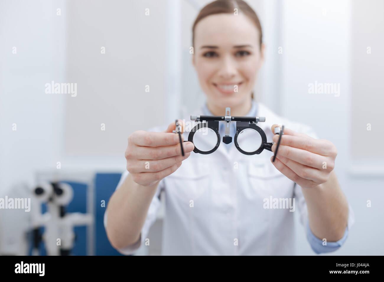 Focus sélectif de l'examen des yeux Lunettes Photo Stock