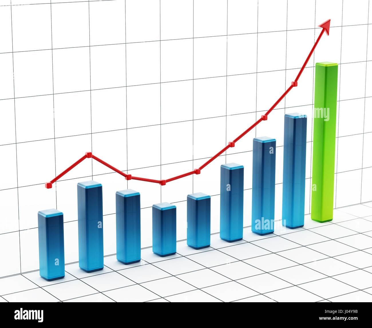 L'augmentation de la grille graphique en barres. 3D illustration. Photo Stock
