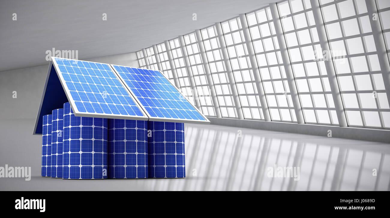 Image 3D de maison modèle fabriqué à partir de panneaux solaires et les cellules contre résumé Photo Stock