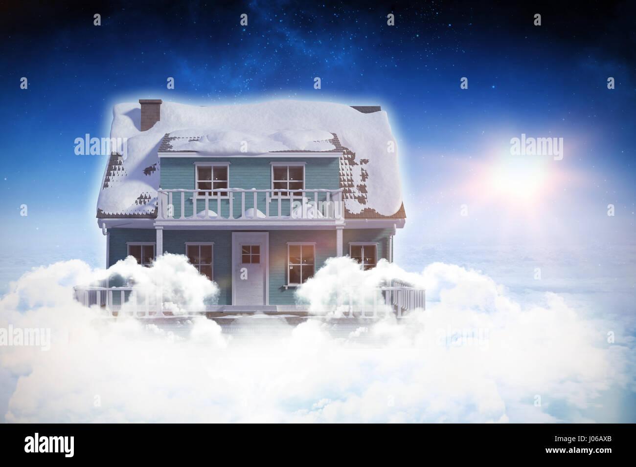 Digital composite de maison en 3d dans le ciel bleu Banque D'Images