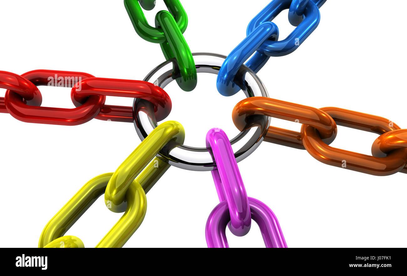 La coopération et la collaboration d'équipe Business concept avec liés et s'est joint à Photo Stock