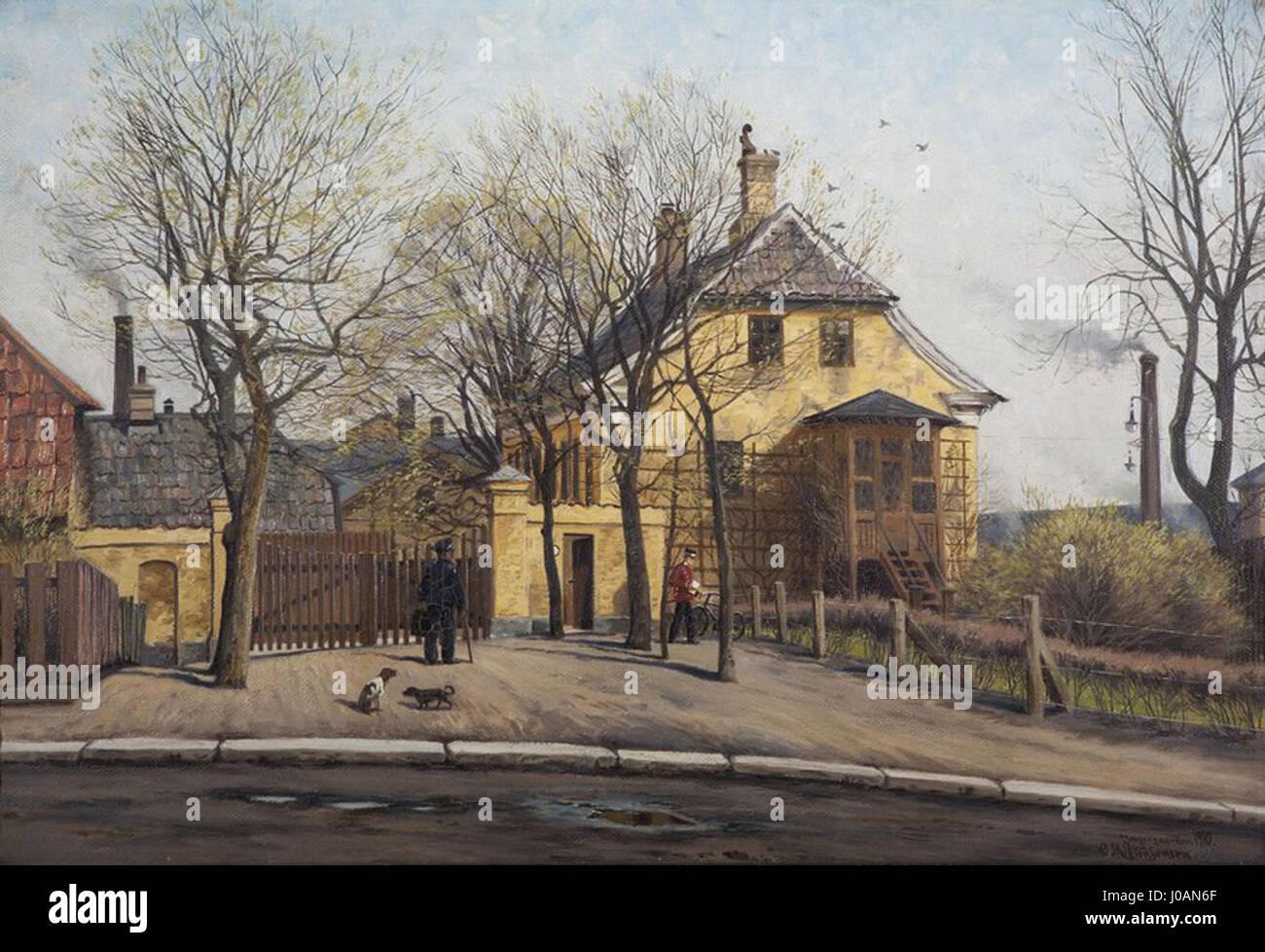 Jaegergården 1910. Jaegergårdsgade opkaldt sådanne er efter hus, nedrevet j 1910, der. Carl Milton Photo Stock