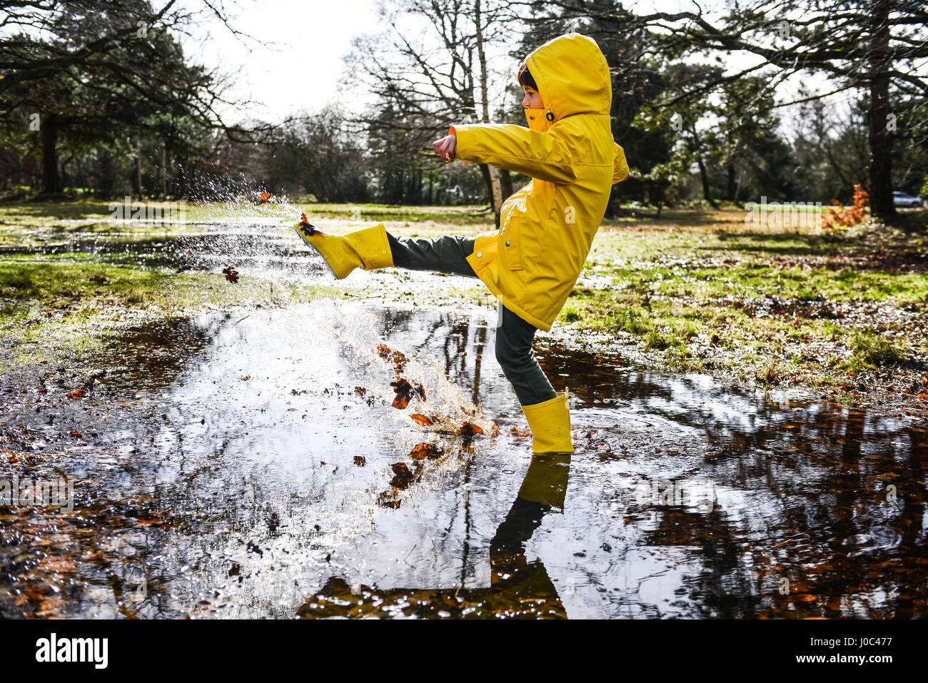 Garçon en anorak jaune splashing in park flaque Photo Stock