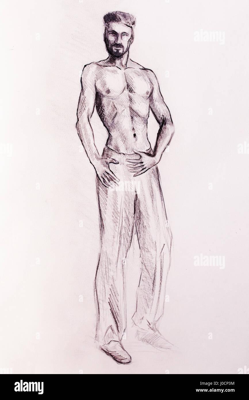 Mystic man dessin au crayon sur papier photo stock